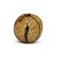 Handmade Golden Round Beads with Black Stripes