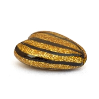 Golden Heart Beads with Black Stripes