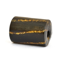 Black Cylindrical Beads with Golden Stripes