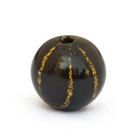 Black Round Beads with Golden Stripes