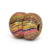 Dumbbell Shaped Golden Beads with Multicolor Stripes