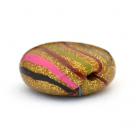 Golden Tablet Beads with Multicolor Stripes