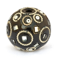 Black Lac Beads Studded with Rings + Seed Beads + Mirror Chips