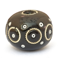 Egg Shaped Bead with Metal Rings & Seed Beads