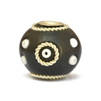 Black Beads Studded with Metal Rings + Seed Beads
