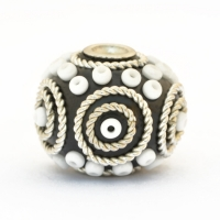 Black Beads Studded with Metal Rings + White Seed Beads