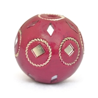 Maroon Beads Studded with Metal Rings & Mirror Chips