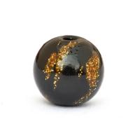 Black Round Beads having Golden Spots