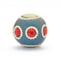 Blue Beads Studded with Metal Rings & Red Rhinestones