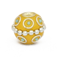 Yellow Kashmiri Beads Studded with Metal Rings, Chains & Blue Grains