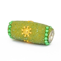 Green Beads Studded with Chains, Grains & Flower Accessories
