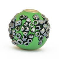 Green Beads Studded with Seed Beads