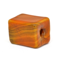 Orange Square Beads with Stripes