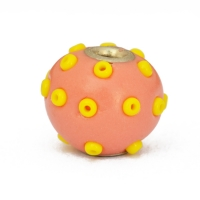 Pink Kashmiri Beads Studded with Yellow Seed Beads