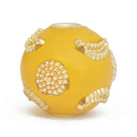 Yellow Kashmiri Beads Studded with Golden Color Accessories