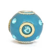 Blue Kashmiri Beads Studded with Blue Rhinestones & Accessories