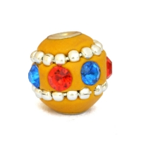 Yellow Kashmiri Beads Studded with Metal Chain & Accessories