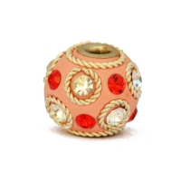 Pink Beads Studded with Red + White Rinestones & Metal Rings