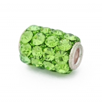 Green Cylindrical Rhinestone Beads