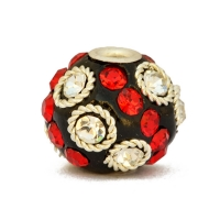 Black Beads Studded with Metal Rings & Red + White Rhinestones