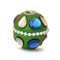 Green Kashmiri Beads Studded with Metal Rings & Accessories