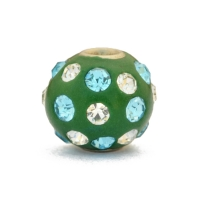 Green Kashmiri Beads Studded with White + Aqua Rhinestones