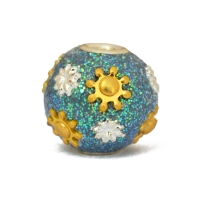 Teal Glitter Beads Studded with Flower Accessories