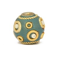 Blue Kashmiri Beads Studded with Metal Rings & Seed Beads