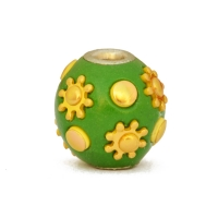 Green Kashmiri Beads Studded with Golden Flower Accessories