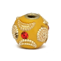 Yellow Beads Studded with Rhinestones & Golden Accessories
