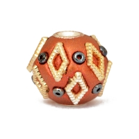 Shining Copper Beads Studded with Diamond Shaped Accessories