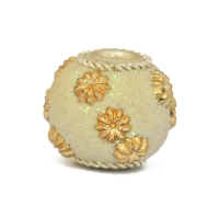 White Glitter Beads Studded with Golden Flower Accessories