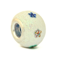 Shining White Euro Style Bead Studded with Glittery Flowers