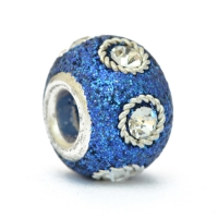 Blue Glittery Pandora Beads Studded with Metal Rings & White Rhinestones