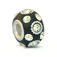 Black Euro Style Beads Studded with Metal Rings & Rhinestones