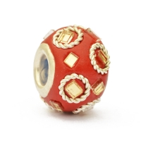 Red Euro Style Beads Studded with Metal Rings & Mirrors