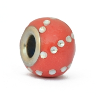 Red Euro Style Beads Studded with Silver Color Accessories