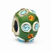 Green Euro Style Beads Studded with Rings & Rhinestones