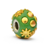 Green Euro Style Beads Studded with Golden Color Accessories