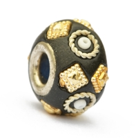 Black Euro Style Beads Studded with Metal Rings & Accessories