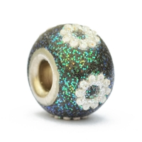 Teal Glitter Euro Style Beads Studded with Accessories