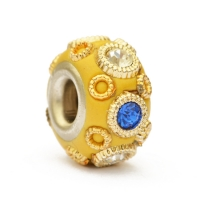 Yellow Pandora Bead Studded with Rhinestones & Accessories