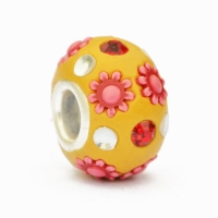 Yellow Euro Style Beads Studded with Rhinestones & Pink Flowers