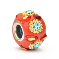 Red Euro Style Beads Studded with Rings & Blue Rhinestones