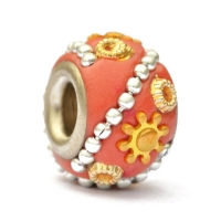 Red Euro Style Bead Studded with Metal Chain & Accessories