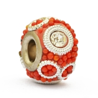Red Bead Studded with Rhinestones, Grains & Accessories