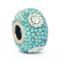 Blue Euro Style Bead Studded with Rhinestones & Grains