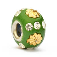 Green Euro Style Bead Studded with Rhinestones + Flowers