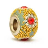 Blue Euro Style Bead Studded with Rhinestones, Grains & Accessories