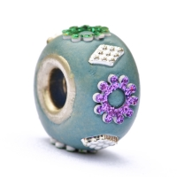 Blue Euro Style Bead Studded with Glittering Flowers & Accessories